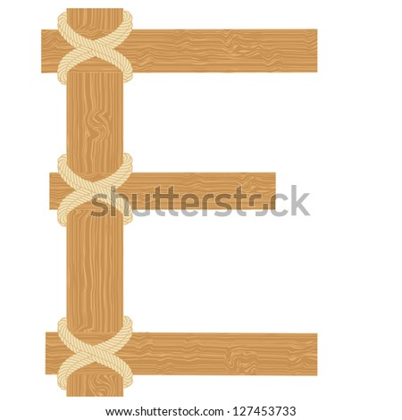 "Vector ""E"" letter of wood pattern tightened with rope alphabet"