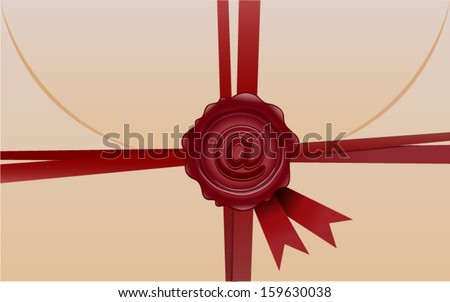 vector e-mail envelope with wax seal  - Separate layers for easy editing - stock vector