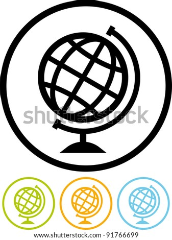 Vector Earth globe icon - stock vector