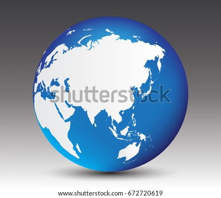 vector earth globe icon with map of asia