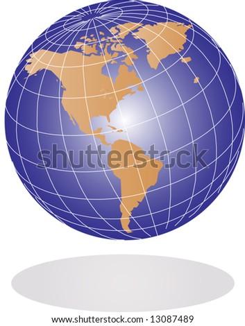 Vector Earth globe illustration - stock vector