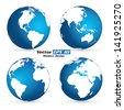 Vector Earth globe set - stock vector