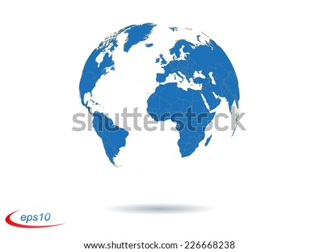 Vector earth globe with countries borders - stock vector