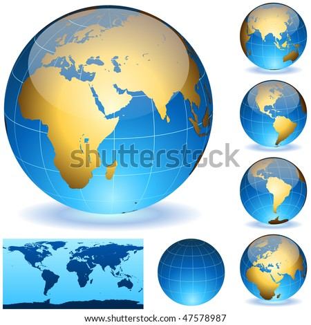 Vector Earth globes and detailed shape of the world isolated on white. Easy to edit EPS10 file with transparency. - stock vector