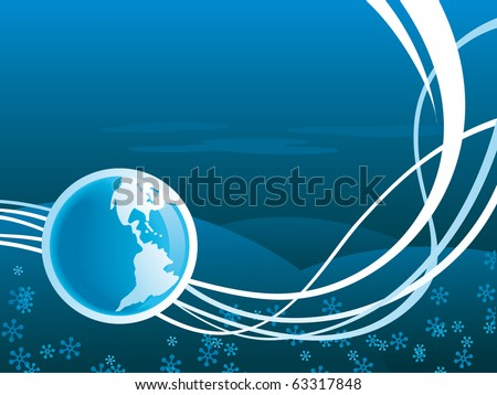 vector earth icon with wave blue background - stock vector