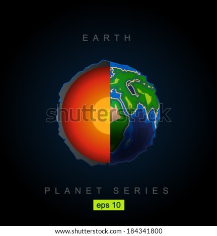 Vector earth's core - stock vector