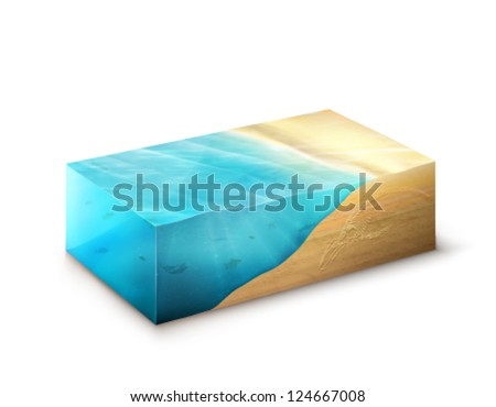 vector Earth slice - sandy beach - stock vector
