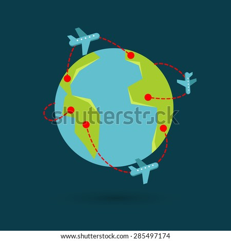 Vector earth travel illustration. Around the world travelling by plane, airplane trip in various country, travel pin location on a global map. - stock vector