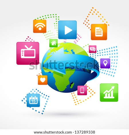 vector earth with social icons - stock vector