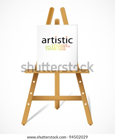 Vector easel with blank canva - stock vector