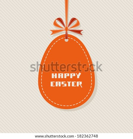 Vector Easter background. Banner in shape of egg with ribbon and bow. Decorative illustration for print, web - stock vector