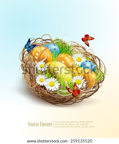 Vector Easter background with eggs and nest  - stock vector