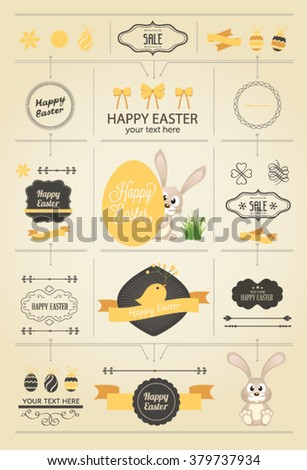 Vector Easter Bunny and eggs. Happy Easter - stock vector