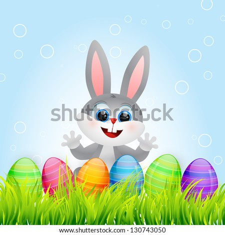 vector easter bunny with colorful eggs