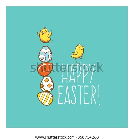 Vector easter card with cute cartoon chickens and eggs.