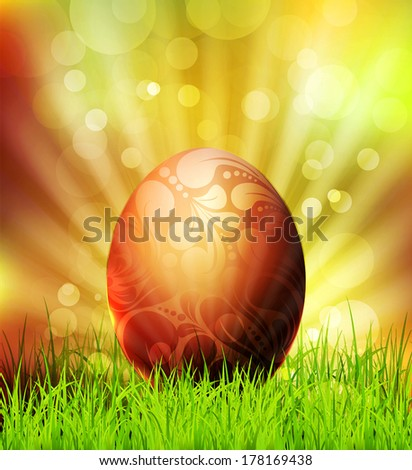 vector easter egg on grass background and bokeh  - stock vector