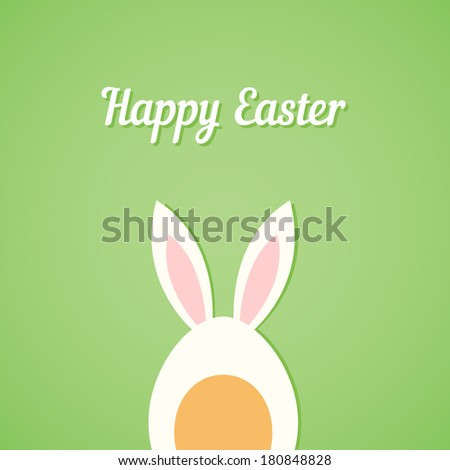 Vector Easter egg with rabbit ears, green card background - stock vector