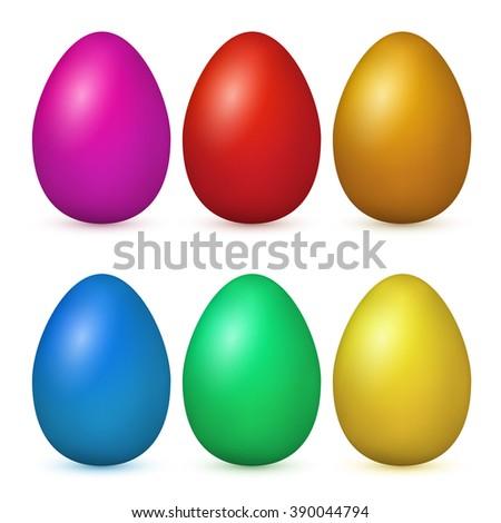 Vector easter eggs set .Easter eggs on white background. Easter set. Set of realistic eggs - stock vector