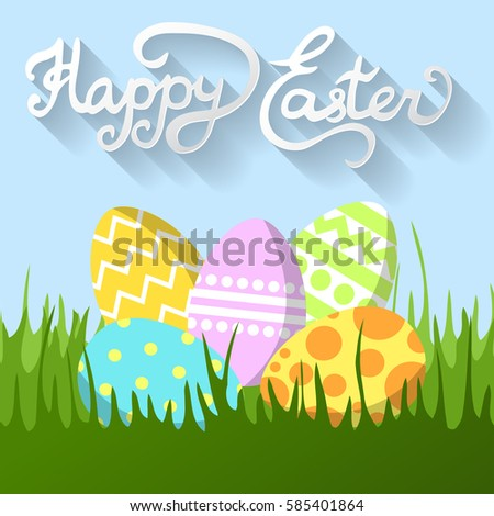 Vector easter greeting card painted cartoon stock vector 585401864 vector easter greeting card painted cartoon eggs in the grass traditional attributes of easter m4hsunfo Images