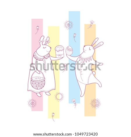 Vector easter greeting card outline rabbit stock vector 1049723420 vector easter greeting card with outline rabbit couple traditional easter symbol and stripes in pastel m4hsunfo