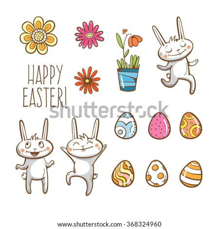 Vector Easter set. Easter rabbits, eggs and flowers. - stock vector