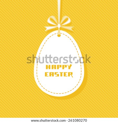 Vector Easter tag. Egg banner with ribbon and bow. Festive background. Decorative golden illustration for print, web - stock vector
