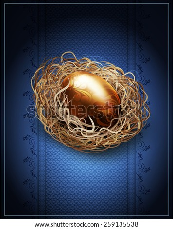 vector Easter, vintage background with a golden egg in the nest - stock vector