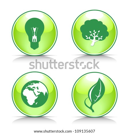 Vector eco button set .