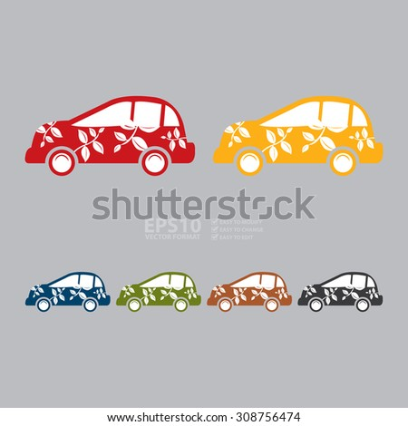 Vector : Eco Car Infographics Flat Icon, Sign - stock vector