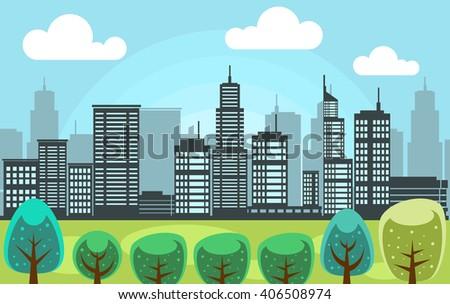 Vector Eco City Scene Behind Green Stock Vector