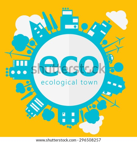 Vector eco concept of town