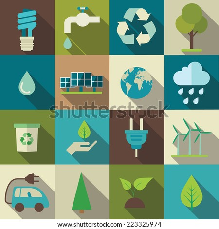 Vector eco flat icons set
