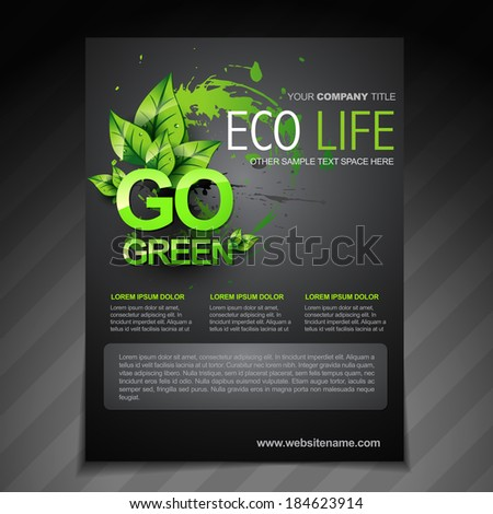 vector eco flyer brochure poster template and magazine cover - stock vector