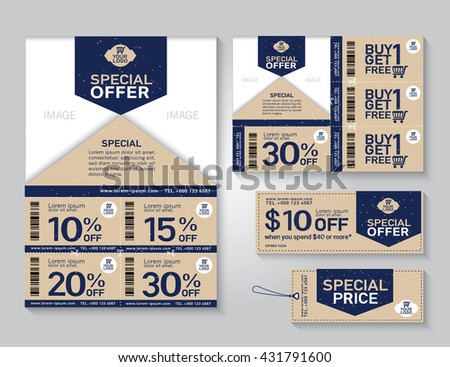 Vector eco flyer, Brochure, Promotions coupon or banner design with best discount offers, Template background size A4, A5, Vector EPS10. - stock vector