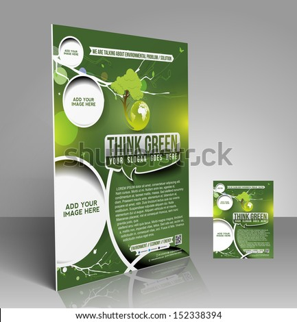 Vector Eco Flyer, Magazine Cover & Poster Template  - stock vector
