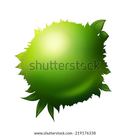 Vector eco friendly label. Green ball with grass and foliage. Natural product design elements. - stock vector