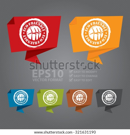 Vector : Eco-Friendly Paper Origami Speech Bubble or Speech Balloon Infographics Sticker, Label, Sign or Icon - stock vector