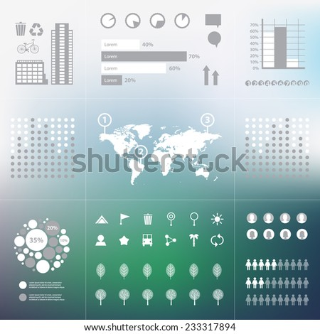 vector eco green infographics set on unfocused background - stock vector