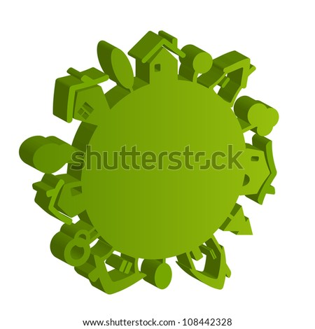 Vector eco green planet isolated on white background - stock vector