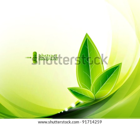 Vector eco leaves and green wave - stock vector