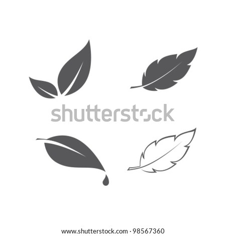 Vector Eco Leaves Set - stock vector