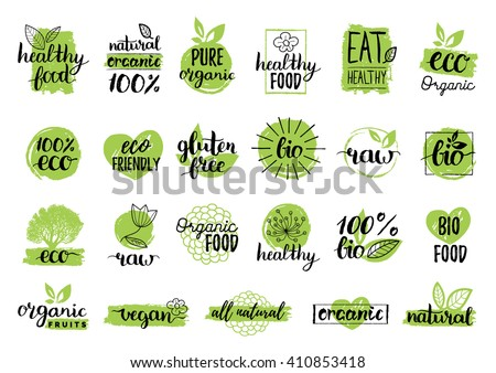 Vector eco organic bio logos, labels. Vegan, healthy food signs. Raw, vegetarian food badges, stamps and stickers. Organic tags and elements set for cafe,restaurants, products packaging. - stock vector