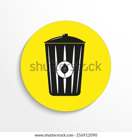 Vector eco trash can web flat icon. - stock vector
