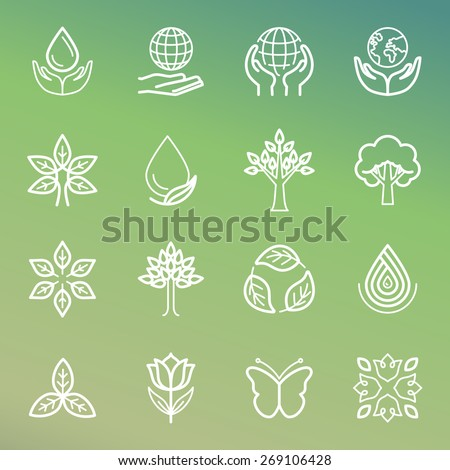 Vector ecology and organic icons and logos in outline style - abstract design elements and signs - stock vector