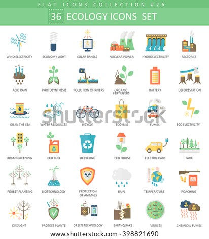Vector Ecology color flat icon set. Elegant style green ecology icons design for web.  - stock vector