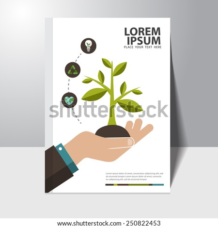 Vector ecology concept book cover design template