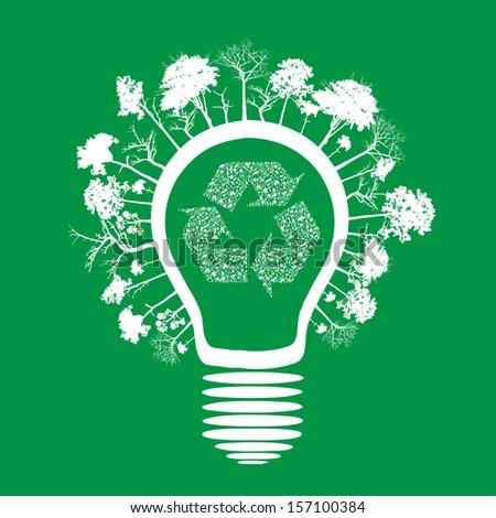 Vector ecology concept - bulb   design   - stock vector