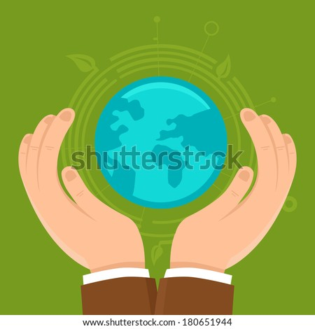 Vector ecology concept in flat style - male hands protecting earth - stock vector