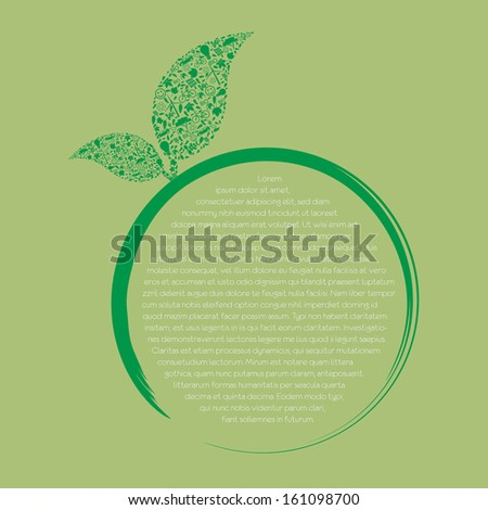 Vector ecology concept - leaf design element made from icons and signs - stock vector