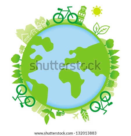 Vector ecology concept - planet with icons and bicycles - vector illustration